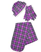 Women's Purple Polyester Fleece Plaid Winter Set