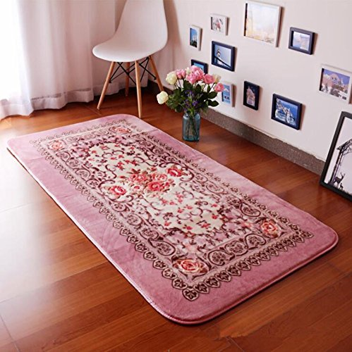 Judy Dre am European-style Rose Flowers Carpet Large Living Room Carpet Garden Strip Thick Raschel Rugs Soft Bedside Mat (Pink) Carpet Rose