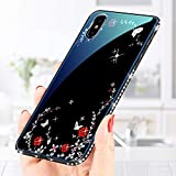 for iphone XR Tempered Glass Case and Screen Protector,QFFUN Glitter Crystal Diamond Frame Ultra Thin Slim Fit Smooth Hard Back Cover Soft Silicone Bumper Protective Case with Pattern Flower