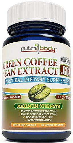 nutribody Pure Green Coffee Bean Extract - С GCA® (Зеленый кофе антиоксидант), стандартизованный 50% хлорогеновая кислота, 800 мг на капсулу, 90 Вегетарианская капсулы, 45 дней поставка, максимальная прочность естественной потери веса Дополнение, Fat Burn