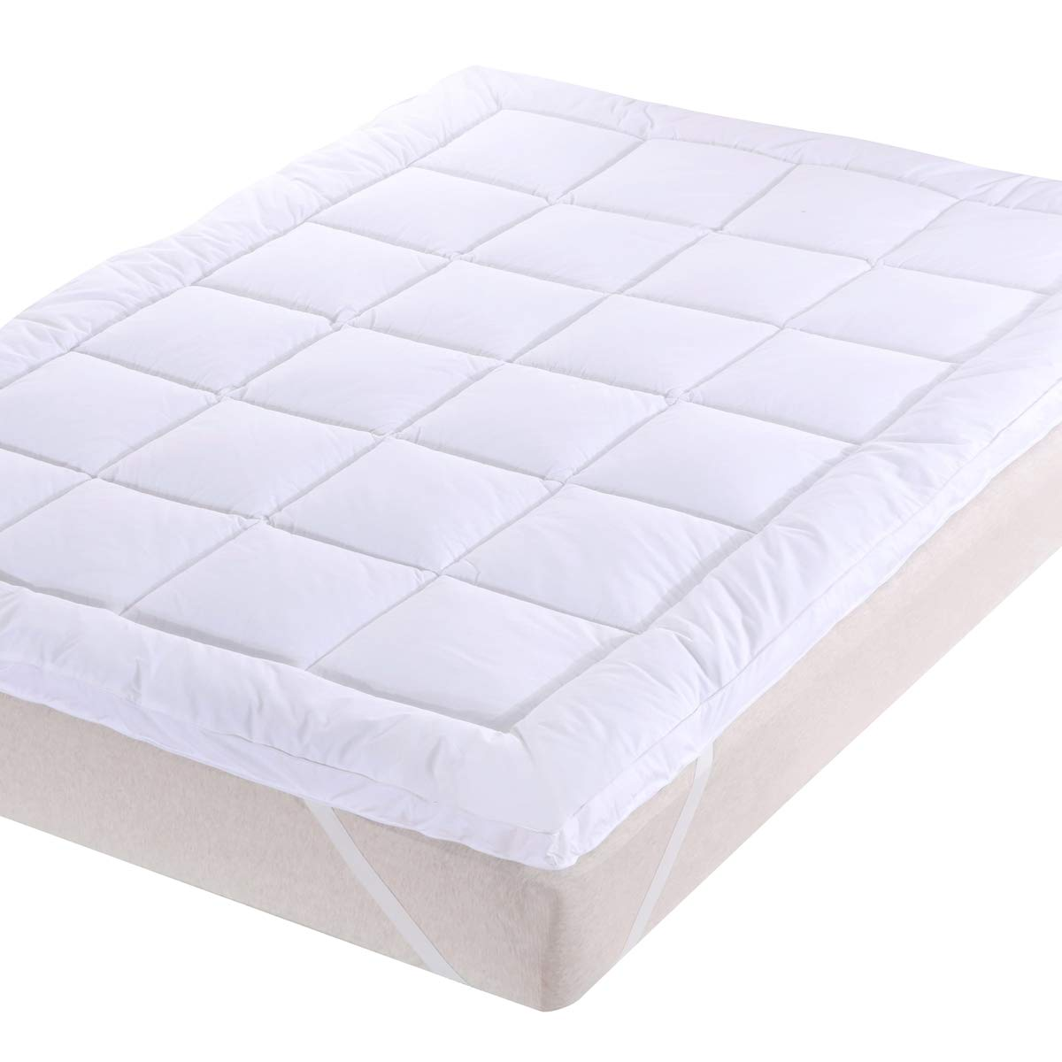 Royal Bedding 3-Inch Plush Microfiber 39-Inch Wide x 80-Inch Long, Twin Extra Long-XL Mattress Topper with Down Alternative Fill, White