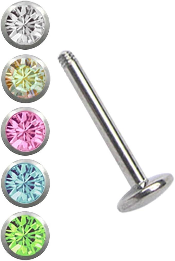 NEU Lippen Piercing Labret 1,2 mm 8 mm Kugel 5 mm mit Stein in klar