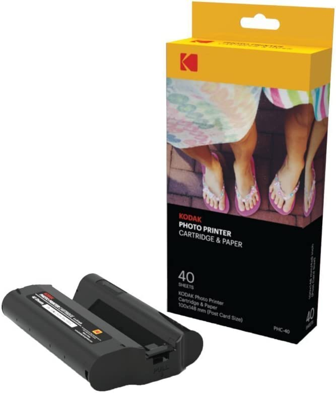 Kodak Dock Wi-Fi Recarga Cartucho de Impresora fotográfica PHc y Papel fotográfico - Paquete de 40