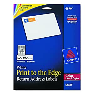 """Avery White Laser Labels for Color Printing, 3/4"""" x 2-1/4"""", 750 per Pack (6870)"""