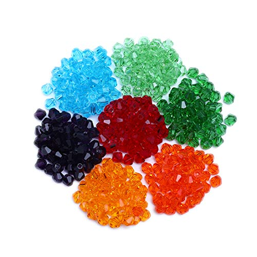 Crystalsuncatcher 6mm 350pcs Bicone Glass Beads for Jewelry Making Faceted Shape Colourful Crystal Spacer Beads Assortments Supplies for Bracelets Necklaces with Storage Box(6mm-Bicone Beads)