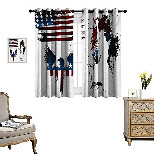 WinfreyDecor American Flag Thermal Insulating Blackout Curtain Set with Bald Eagle Symbol and Stripes Stars Statue of Liberty Grunge Retro Patterned Drape for Glass Door W55 x L39 Navy Maroon