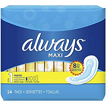 Always Always Maxi Pads 24ct Regular Non-Wing Unscented, 24 Count