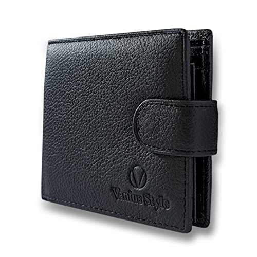 Style Black Leather Billfold Wallet - Black Leather - Safe Wallet for Men's Premium Trifold - with RFID Blocking and Coin Pocket - Your money is safe