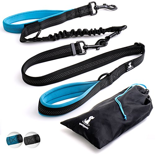 SparklyPets Adjustable Leash 3 in 1 Shock-Absorbing Bungee Extension Set – Heavy Duty Dog Leash Medium Large Breeds Made from Durable Nylon – Reduces Pulling Shocks Prevents Injuries(Blue)
