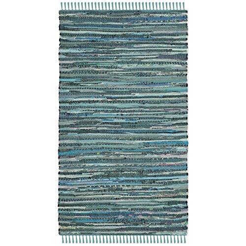 Safavieh Rag Rug Collection RAR127C Hand Woven Turquoise and Multi Cotton Area Rug (2'6