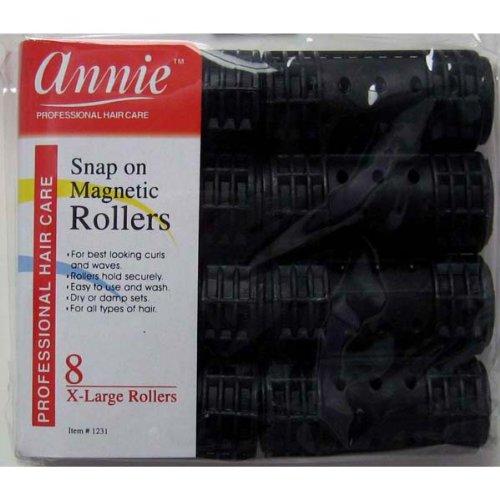 "Annie Snap on Rollers 1 1/8"" Black 8pack"