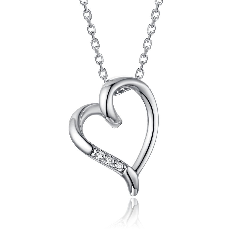sassu fine Love Heart Pendant Necklace Silver Jewelry for Women Girls for Daughter Granddaughter Girlfriend Mother Wife 2 Colors
