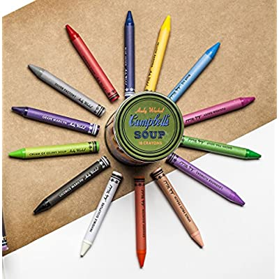 Mudpuppy Andy Warhol Soup Can Crayons, Orange, Includes 18 Crayons Inspired by Iconic Andy Warhol Piece, Warhol-Inspired Crayon Colors in Orange and Blue Tin, Ideal Art Lovers Gift: Mudpuppy, Warhol, Andy: Toys & Games