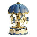 LIWUYOU Carousel Horse Music Box Vintage with Colorful LED Light Illumination Rotating,Play The Castle in The Sky Tune Color Blue
