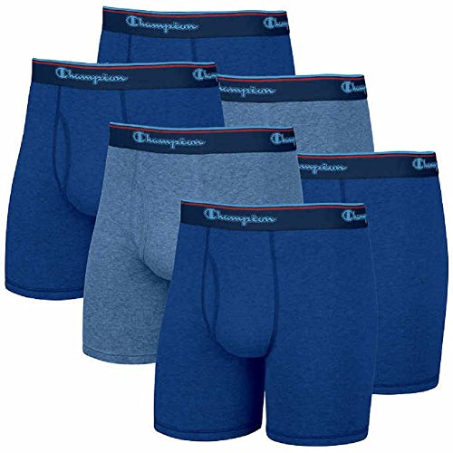 Boxer Champion Brief Mens (Champion Men's 6 Pack Smart Temp Boxer Brief (Medium, Blue))