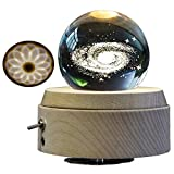 Amperer 3D Crystal Ball Music Box The Galaxy Luminous Rotating Musical Box with Projection LED Light and Wood Base Best Gift for Birthday Christmas (A3 Galaxy)