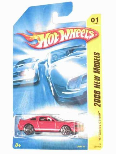 Shelby 2007 Gt500 Ford (Hot Wheels 2008 New Models 2007 Ford Mustang Shelby GT500 GT-500 Red with White Stripes)