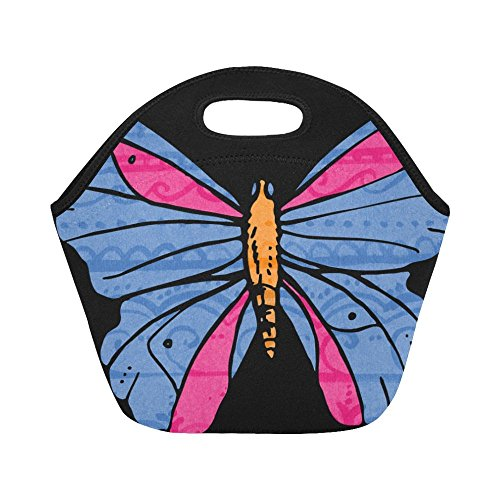 unch Bag Butterfly Vintage Flower Blue Pink Large Size Reusable Thermal Thick Lunch Tote Bags For Women,teens,girls,kids,baby,adults-lunch Boxes For Outdoors,work, Office, School ()