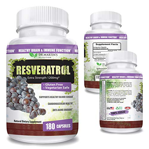 51U%2Bx3jZ18L - Extra Strength 100% Pure Resveratrol 1200mg - 180 Capsules - 3 Months Supply | Antioxidant Supplement | Natural Trans-Resveratrol Pills | for Anti-Aging, Heart Health, Immune System & Brain Function