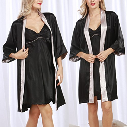 Zhhlinyuan Fashion Women's Comfort Black Nightwear Sleepwear Pyjama Set Black&Gray