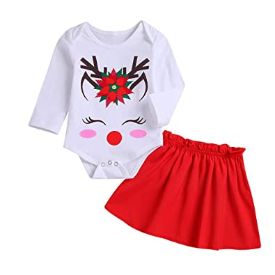 bbbc4e3538 Baby Clothes Set, Girls Christmas Deer Printed Tops Romper + Red Skirt  Toddler Long Sleeve