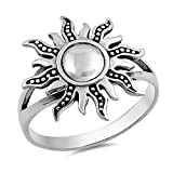 Sterling Silver Women's Ring Sun 18MM Size 9