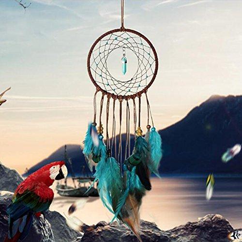 Bemall DIY Dreamcatcher Feather Green Turquoise Handmade Dream Catcher Kit Make Your Own Dream Catcher Home Car Decoration Pendant ()
