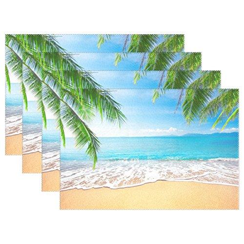 WOZO Tropical Palm Tree Placemat Table Mat, Sea Beach Ocean 12