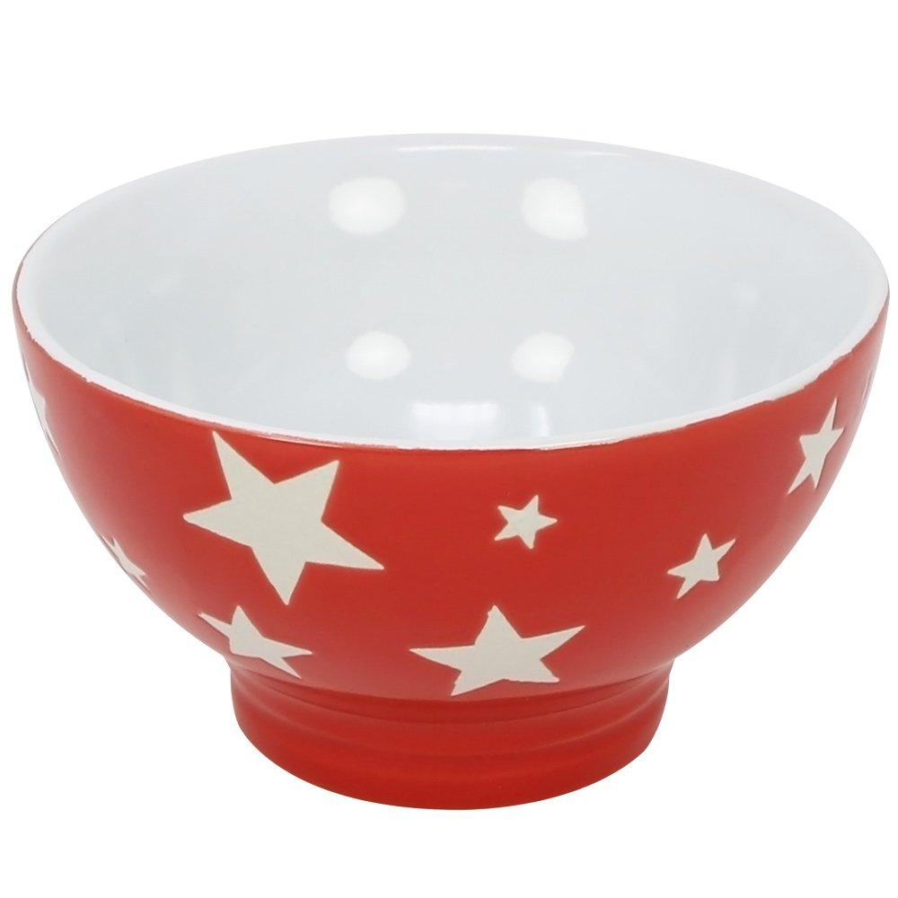 COM-FOUR/® 4x tazones de cereales XLestrellas 04 piezas taz/ón de cer/ámica en rojo y gris 380 ml