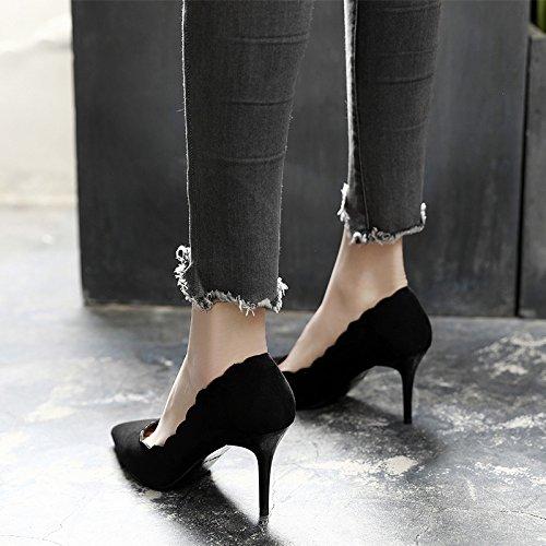 New Fine Black singole Scarpe Primavera With Black High 10cm Female Tacchi Heels Scarpe lavoro occupazione Jqdyl Summer alti Pointed Wild da y8w6E4