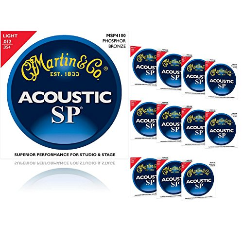 Martin MSP4100 SP Phosphor Bronze Light 12-Pack Acoustic Guitar (Martin Msp4100 Light)