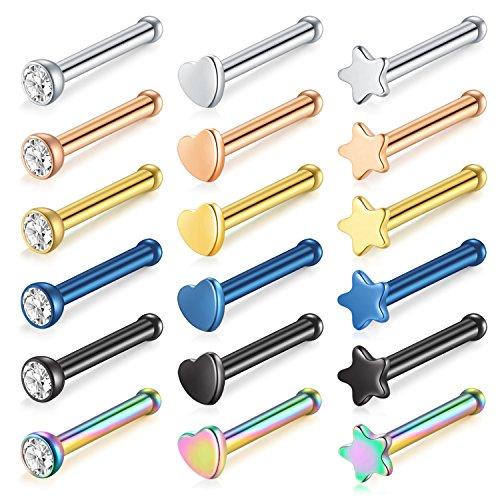 - MODRSA 18pcs 20G Nose Rings Studs Stainless Steel Bone Nose Studs Piercing Jewelry
