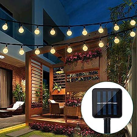Tira de luces de decoración para exteriores, para fiesta de Navidad, patio, boda y vacaciones, funciona con energía solar, impermeable, 2 modos, 30 bombillas, de Usboo, Warm Light: Amazon.es: Deportes y aire