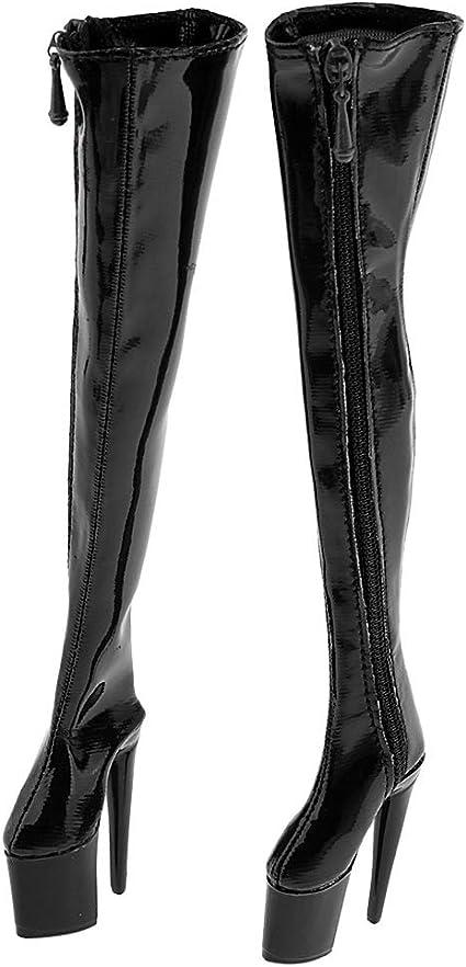 1//6 Women/'s Long Boots High Mid Heel Black for 12/'/' Phicen Action Figure