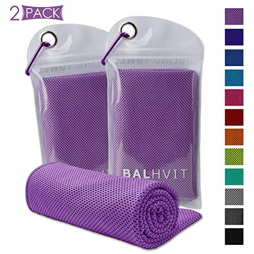 Balhvit [2 Pack Instant Relief Cooling Towel, Ice Towel, Microfiber Towel, Use as Chilly Neck Headband Bandana Scarf, Cool Cold Towels for Yoga Beach Travel Sports Running Camping