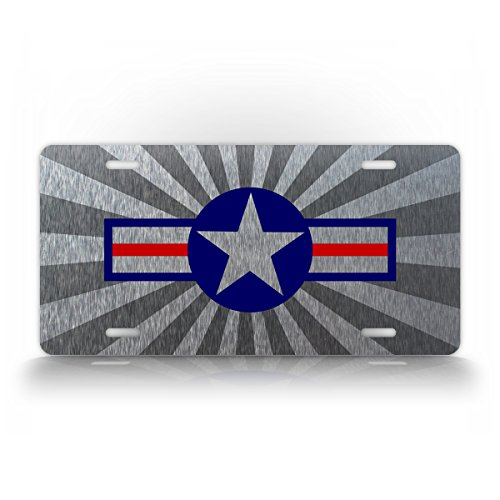 Air Force Star and Bars License Plate USAF Aircraft Roundel Insignia United States Air Force Military Auto Tag ()