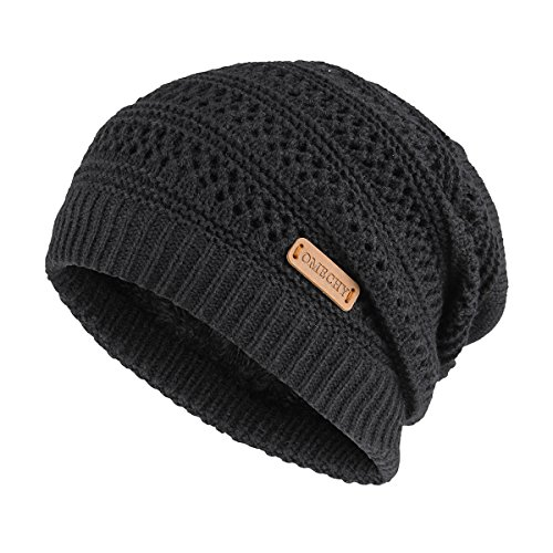OMECHY Slouchy Beanie Hats Unisex Daily Knit Skull Cap Winter Warm Fleece Soft Baggy Hat Ski Cap, Black -