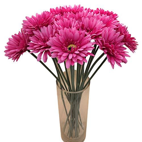 cn-Knight Artificial Flower 12pcs 22'' Long Stem Silk Daisy Faux Mums Flower Chrysanth Gerbera for Wedding Bridal Bouquet Bridesmaid Home Decor Office Baby Shower Prom Centerpiece(Dark Pink) ()