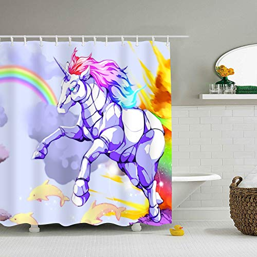 Waterproof Bathroom Rainbow Space Unicorn Shower Curtain 71 × 78 inch Marriage Gifts for Men and Women