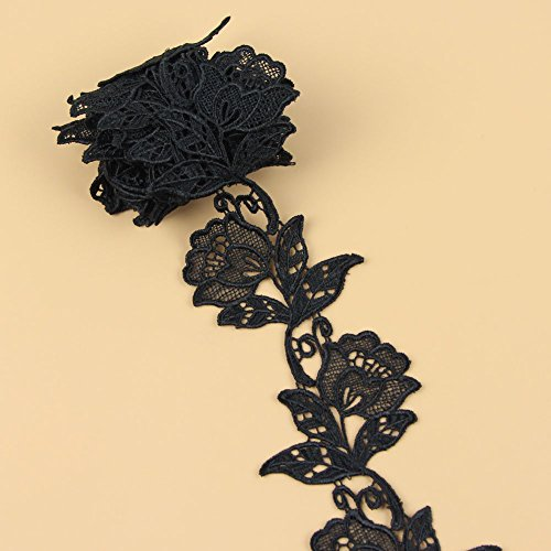 Floral Motifs Boho Black Lace Applique Trim Sequins Flower Embroidery Applique Sewing Craft,2 Yards
