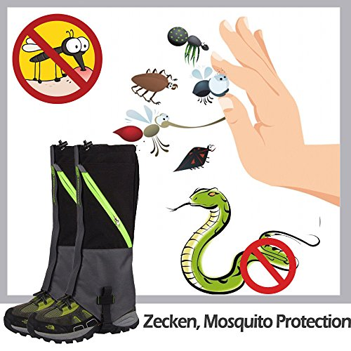 IC ICLOVER Outdoor Leg Gaiters, Breathable Waterproof High Leg Legging Cover Snow Gators - Keep Water, Mud, Snow & Debris Out, Protect Against Sharp Rocks, Bush, Inserts - For Hiking Climbing Hunting by IC ICLOVER (Image #5)