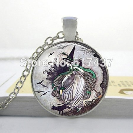 Pretty Lee 2015 New Fairytale Witch Necklace Witch Pendant Halloween Necklace Glass Cabochon Dome Jewelry