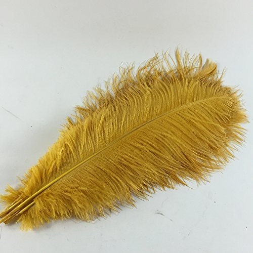 Sowder 5pcs Ostrich Feathers 16-18inch(40-45cm) for Home Wedding Decoration(golden) - Ostrich Feathers Hats Crafts