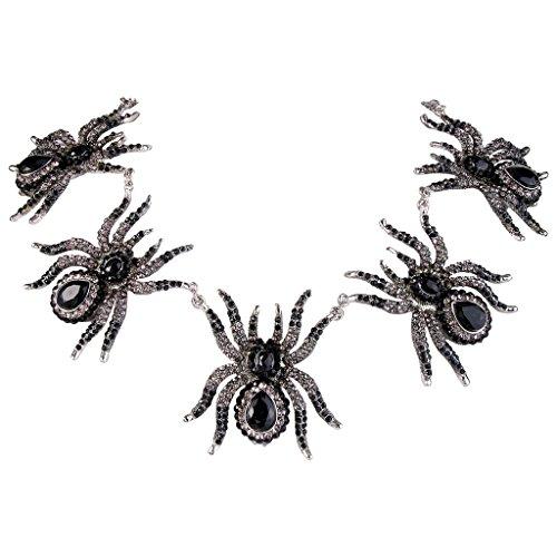 ne Halloween 5 Spider Necklace Austrian Crystal Black (Jet Tone Crystal Necklace)