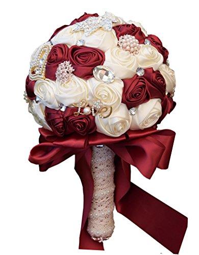 Jackcsale Wedding Bouquet Bride Bouquet Bridal Brooch Bouquet Bridesmaid Bouquet Valentine's Day Confession (373 Winered+Creamy)