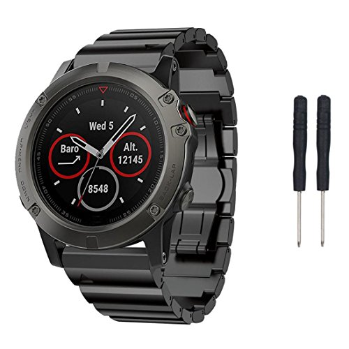 Price comparison product image for Garmin Fenix 5X GPS Watch,Metal Band Replacement Watch Loop Strap - 185mm (Black)
