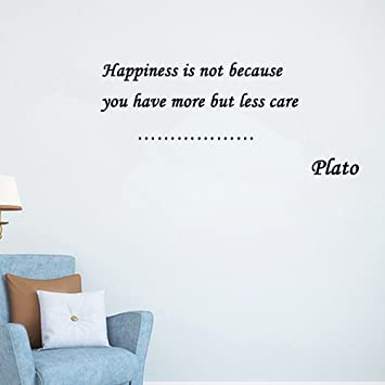 Home Decor Inspiration Wall Sticker Quotes Removable Happiness Is Not  Because You Have More But Less