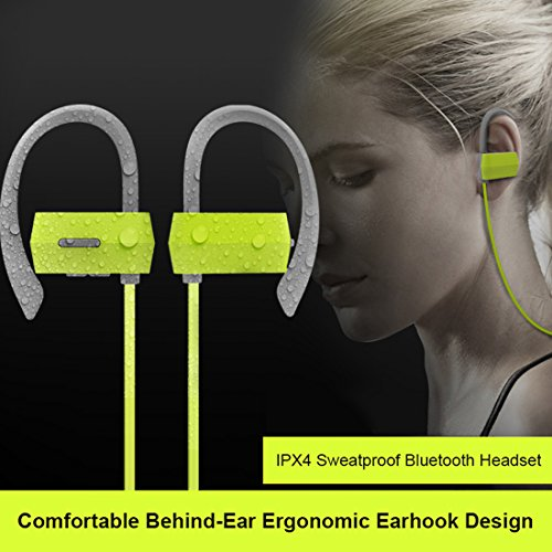 Mailiya Wireless Sport Bluetooth Headphones Sweatproof Stable Fit In Ear Earbuds Ergonomic Ear Hook Headset Noise Isolation Stereo Earphones 7-Hour Working Time with Mic for Running Workout Gym