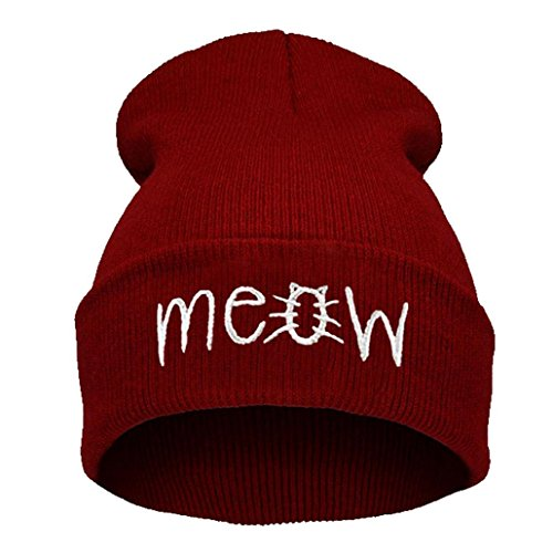 [Winhurn Men & Women Winter Warm Knitted Beanie Hat Snapback Hiphop Cap (Red)] (Hip Hop Felt Hat With Feather)