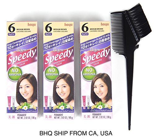 BIGEN SPEEDY CONDITIONING COLOR (#6 Medium Brown) Pack of 3 No Ammonia  by Q-ITEM